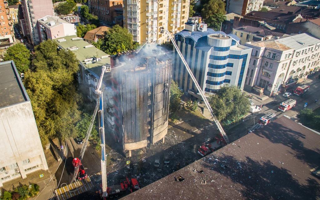Конструкции сгоревшей вРостове гостиницы сохранили рабочее состояние