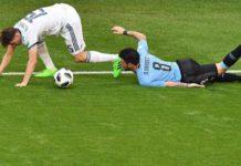 Фрагмент матча между сборными России и Уругвая //Фото: телеканал 360