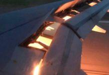 Огонь, вырывающийся из правого двигателя авиалайнера при посадке в Ростове //Фото: twitter.com/OKAZ_online