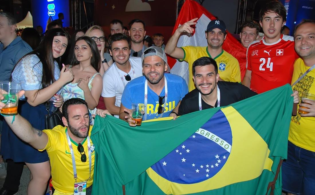 Бразильские и швейцарские фанаты в Ростове-на-Дону //Фото: Сергей Петраков