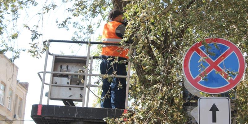 Работа по очистке дорожного знака от листвы в Ростове //Фото: