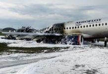 Сгоревший в аэропорту Шереметьево лайнер SSJ 100 //Фото: Морской и воздушный флот