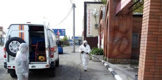 В Шахтах спасатели ДПЧС повторно дезинфицировали общественные пространства //Фото: пресс-служба ГКУ РО «РО ПСС»