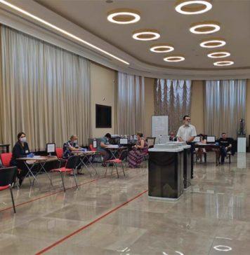 Избирательный участок в главном корпусе ЮФУ //Фото из аккаунта пользователя соцсети ВКонтакте Анастасии Волык